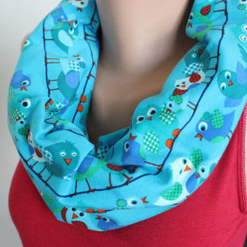 Bird Print Scarf, Bird Lovers, Bird Patterned Scarf, Cute Bird Print Loop Scarf, Blue Scarf Gift For Her, Women's Scarf, Blue Infinity Scarf