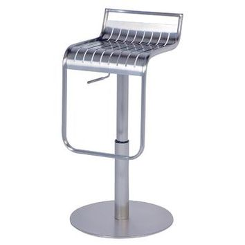 Chintaly 0539 Pneumatic Gas Lift Adjustable Height Swivel Stool In Brushed Stainless Steel