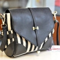 New Fashion Women Black And White PU Leather Vintage Single Handle Satchel Handbag Purse Hobo Tote Bag