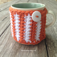 Texas Longhorns Crochet Coffee Mug Cozy - Longhorns Coffee Cozy - Team Coffee Cozy - College Accessories - Orange and White Cozy - Mug Cozy