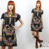 Vintage 70s Black Mexican Embroidered Dress S M Black Mexican Dress Hippie Dress Hippy Dress Boho Dress Festival Dress Mini Dress