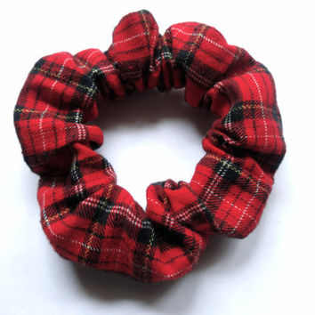 Red Plaid Scrunchie, Flannel Scrunchy, Red and Black Hair Scrunchie, Scottish Accessory, Tartan Fabric, Cotton Hair Scrunchy