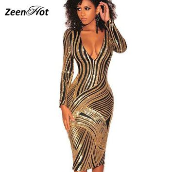 13fb0db84e2 Luxury Sequins Striped Dresses 2019 Women Elegant Long Sleeve Midi Dress  Sexy Deep V Neck Party
