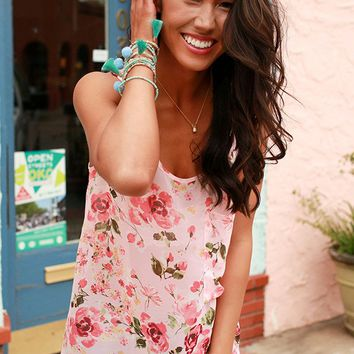 The Haven Pocket Tank In Blushing Wanderlust Floral Chiffon