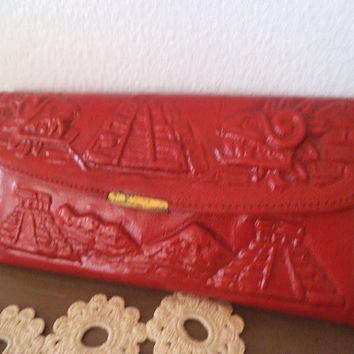 Vintage Red Leather Wallet ~ Mexican ~ Aztec ~ Indian head ~ Hipster ~ Eagle Idian head