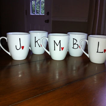 Bridesmaids Personalized Initial Coffee Mug by TulaTinkers on Etsy