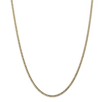 14k Yellow Gold 2.5mm W Semi Solid Curb Link Chain