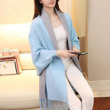 TryEverything Knitted Tassel Long Cardigan Female Patchwork Scarf Collar 2018Winter Women Ponchos And Capes With Batwing Sleeves