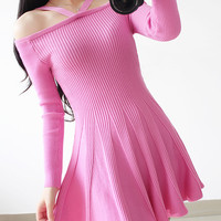 Pink Pleated Knitted Mini Dress