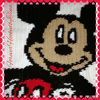 Mickey Mouse baby blanket, crochet throw, afghan 36x36