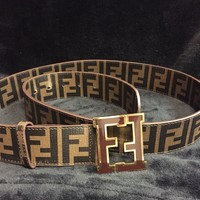 Fendi Brown Coffee Designer Leather Belt