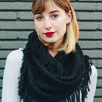 Ready For Fall Fringe Infinity Scarf, Black