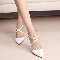 2017 New Women Cover Toe Sandals Female Fashion Pointed Toe High Heels Cross Straps Pumps Party Shoes Black/White/Pink Wo149