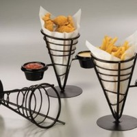 American Metalcraft FBC92 Wrought Iron 1-Cone Conical Basket with 2 Ramekins, 5-Inch:Amazon:Kitchen & Dining
