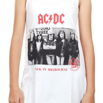 AC/DC Heavy Metal Rock Band Back in Melbourne Tank Top Women Shirts White Shirt Tunic Top Vest Sleeveless Women Mini Dress Size S - IZWT84