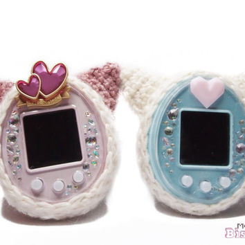 Tamagotchi - Cozy Crocheted Soft Cover with Puffy Cat Ears - Alpaca Wool - 4u - 4u Plus -P's - idL