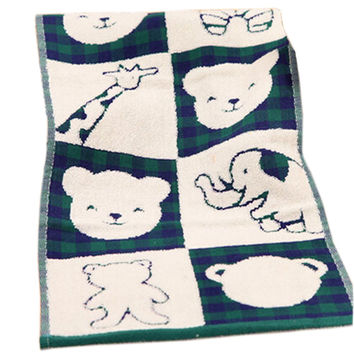 Set Of 2 Cartoon Animal Soft Cotton Baby Washcloths Comfy Absorbent Towels, Green