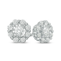 1/2 CT. T.W. Diamond Snowflake Stud Earrings in 10K White Gold|Zales