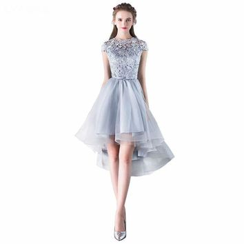 Prom Dresses New Fashion O-Neck Prom Dress Grey Tulle With Lace High Low Prom Dresses
