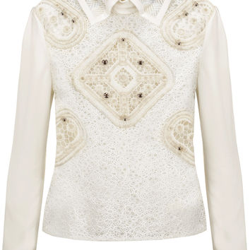 Cloqué-trimmed embellished wool-blend crochet and crepe shirt | Peter Pilotto | US | THE OUTNET