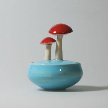 mushroom jar in sky blue by lbegley on Etsy