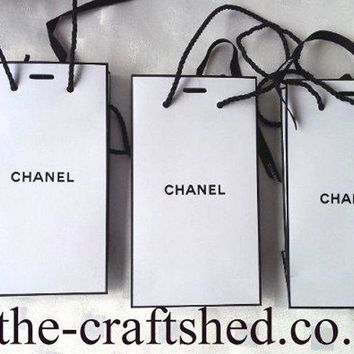 *3x CHANEL GIFT BAGS with CHANEL RIBBONS/CORDED HANDLES* SAME SIZE No Contents
