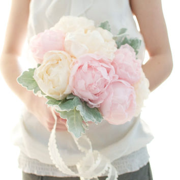 Up cycled handmade fabric flower Peony bouquet, light pink peony, pastel peach peony, wedding bouquet,