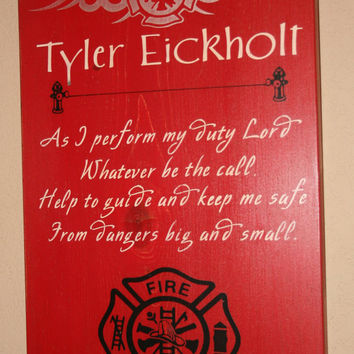 Firefighter Wall Art, Firefighter Decor, Distressed Wall Decor, Custom Wood Sign, Firefighter, Typography Word Art - As I Perform My Duty