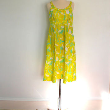 1960s Lilly Pulitzer Sundress Dress / Braided Trim / Rare Vintage / Sunny Yellow and Aqua Abstract Floral Print / Size Medium Large M L
