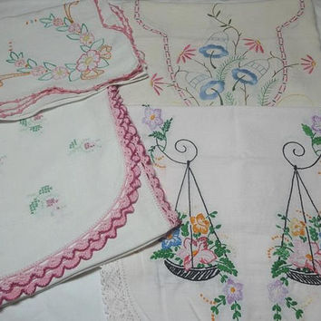 Vintage 1960s Hand Embroidered Dresser or Piano Scarves for Upcycle Supply, Crocheted & Lace Edges, Mid Century Decor, Vintage Doilies,