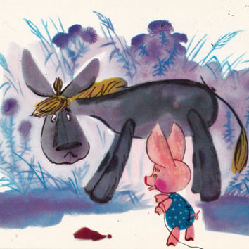 Postcard Illustration by Sorokina (A. A. Milne - Winnie-the-Pooh) no.14 - 1976. Fine Arts, Moscow