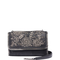 Stella McCartney Falabella Beaded Flower Shoulder Bag, Black
