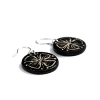 Ceramic earrings - Butterfly flower motif, black and white, elegant jewelry