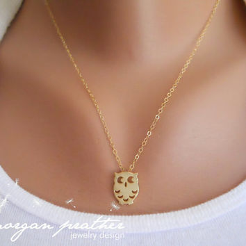 SALE - Owl Necklace - Gold Cute Owl Charm Pendant - gold filled chain - morganprather
