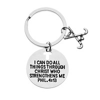 Field Hockey Christian I Can Do All Things Through Christ Keychain