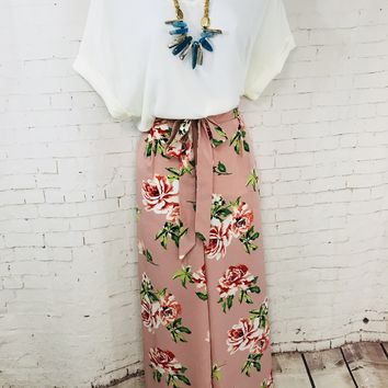 Floral Pants with Waist Tie