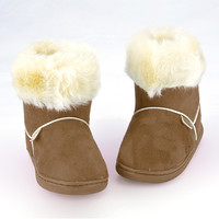 New Arrival Children's Faux fur Snow Boots Candy-colored Snow Boots Thick Cotton Anti-slip Baby Shoes