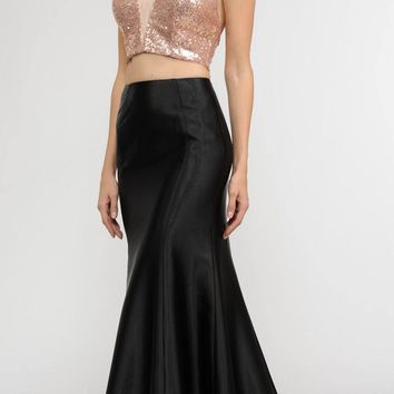 Rose Gold Two-Piece Long Prom Dress Sequins Top V-Neck