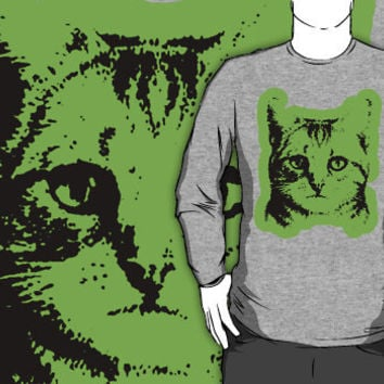 cat with green outline crew neck