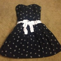 New Abercrombie & Fitch Navy Blue White Anchors Belted Dress Small A&F Size S
