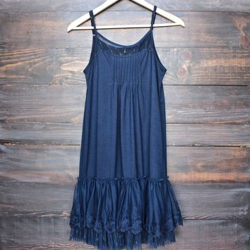 whimsical fairytale lace dress slip - navy