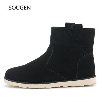 New Winter Shoes Mens Boots Leather Military Suede Ankle Autumn Snow Black Cowboy Male Combat Fur Chelsea Men Waterproof
