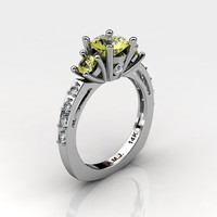 French 14K White Gold Three Stone 1.0 Carat Yellow Topaz Diamond Engagement Ring AR112-14KWGDYT