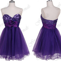 Strapless Mini Short  Sequined and Tulle with Flowers Purple Prom Dresses, Champagne Evening Gown, Formal Gown