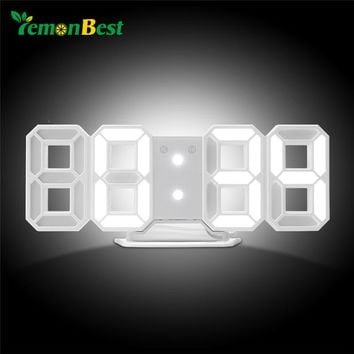 LemonBest LED Table Clock Digital Alarm Clock for Child's gift Modern Home Decor 3D Digital LED Wall Clock for Home Decoration