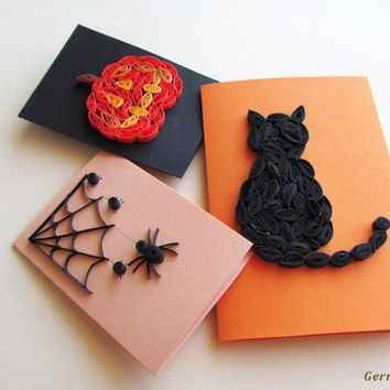 Halloween Quilling Set of 3 Quilled Paper Cards with Cat, Spider and Pumpkin in Orange Black