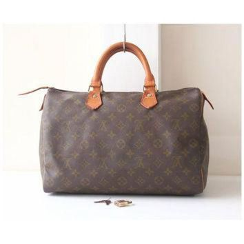 PEAPYD9 Louis Vuitton Speedy 35 monogram, tote bag, brown bag, vintage bags, Louis Vuitton Bag