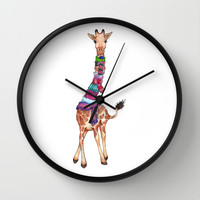 Cold Outside - cute giraffe illustration Wall Clock by Perrin Le Feuvre