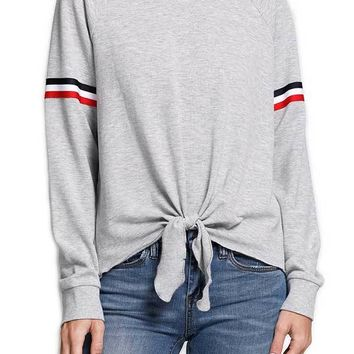 Six Fifty Tie Front Retro Stripe Sweatshirt