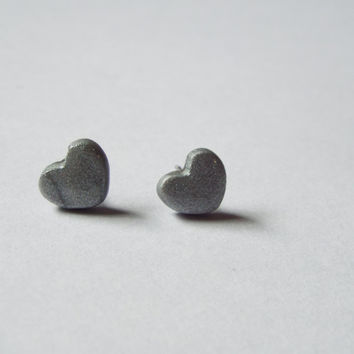 Tiny Silver Heart Stud Clay Earrings